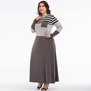 Women Abayas Muslim Dress Dubai abaya Striped Patchwork Grey with Pocket kaftan islamic Arab dresses vestidos 3XL 4XL