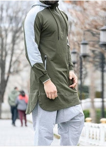 Men Jubba Thobe Muslim Arabic Islamic Clothing Dubai Kaftan Fitness Gym Long Sleeve Top Saudi Arabia Hooded Sweater Jogging