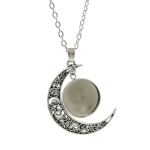 Islamic Muslims Allah Pattern Moon Necklace Fashion Women Men Accessories Simple Pendant Handmade Jewelry