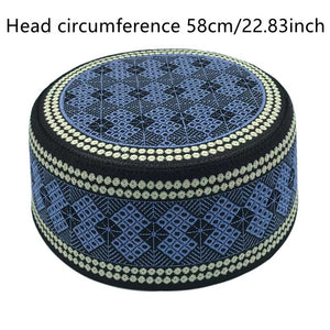 New Muslim Men Prayer Hats Cotton Embroidery Leisure Saudi Arabia Islamic Hat Men Headscarf Clothing Topkippot Turban