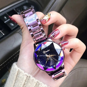 Luxury Brand lady Crystal Watch Women Dress Watch Fashion Rose Gold Quartz Watches Female Stainless Steel Wristwatches