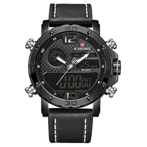 Newest Hot Brand New Men's Leather Luxury Quartz Sports Watches Men's LED Digital Clock Waterproof Wrist Watch