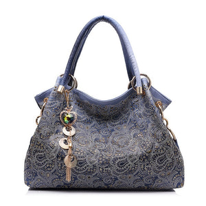 Newest Women's Bag Professional Luxury hollow out ombre handbag floral print shoulder bags ladies pu leather tote bag red/gray/blue