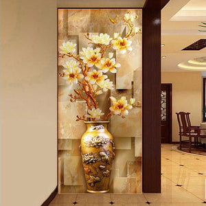 Customize Mural Wallpaper Designs Chinese Retro Painting Vase Magnolia Wall Mural Living Room Entrance Wall Decor Wall Coverings