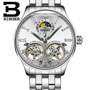 Double Tourbillon Switzerland men Watches BINGER Automatic Watch men Self-Wind Fashion Mechanical Wristwatch