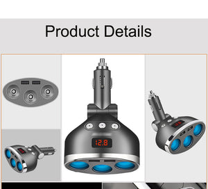 3 in 1 Dual USB Car Cigarette Lighter Socket Splitter Plug 3  Car USB Voltage Monitor For iPhone Samsung