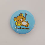 Rilakkuma with Dango Lazy Pose Blue Button - San-X - Pin