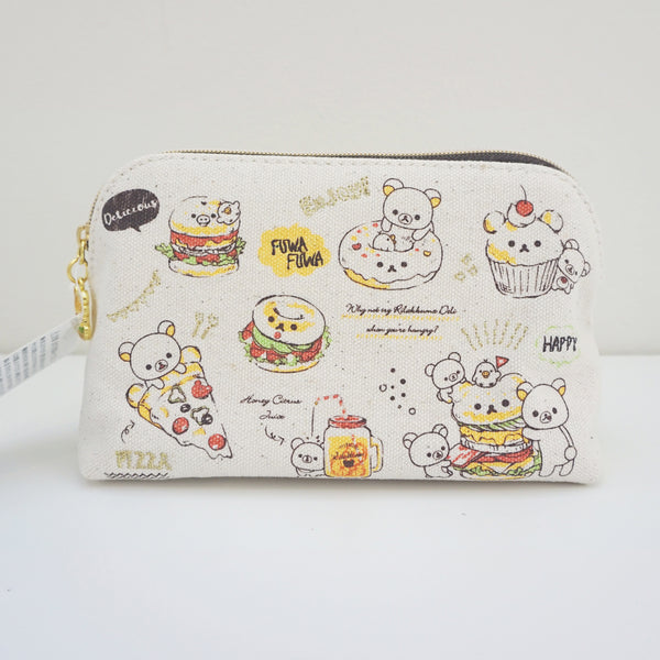 zipper pouch with deli theme showing pizza bagel burgers
