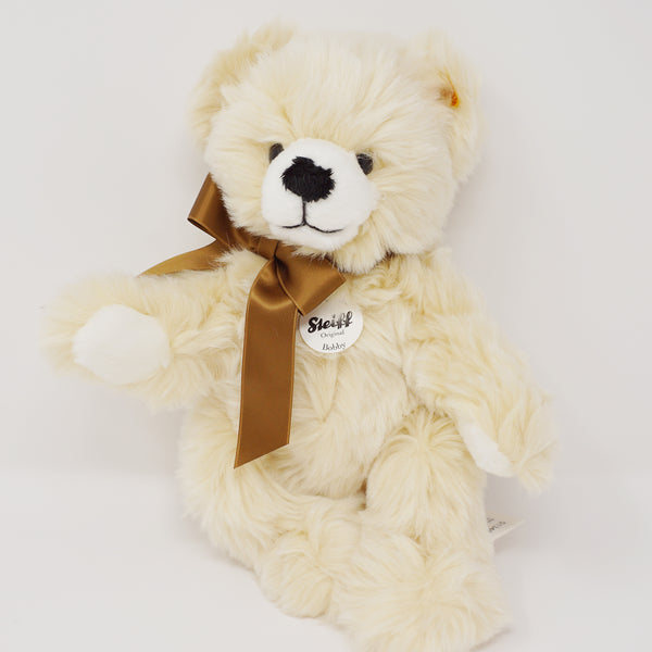 "Fuzzy Bear Plush with Bow ""Bobby"" Dangling Plush Cream - Steiff"