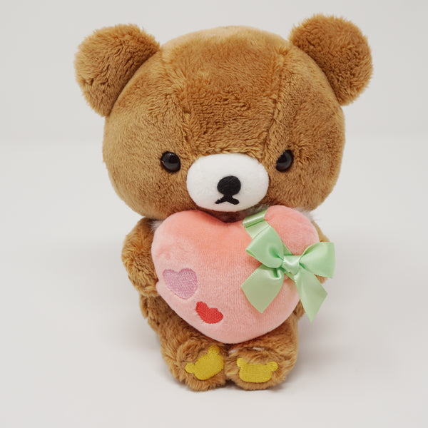 2018 Chairoikoguma with Pink Heart & Ribbon Plush - Soft Heart Theme Rilakkuma - Store Limited