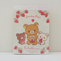 rilakkuma koguma and korilakkuma eating strawberries