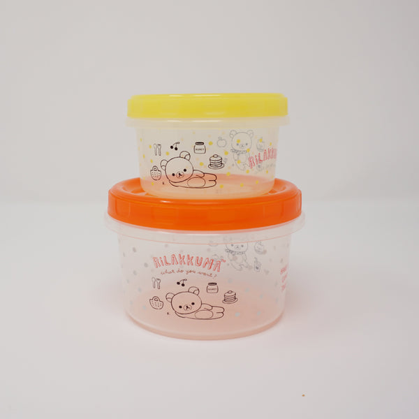 Circular Storage Container (Red & Yellow) Set  - Rilakkuma