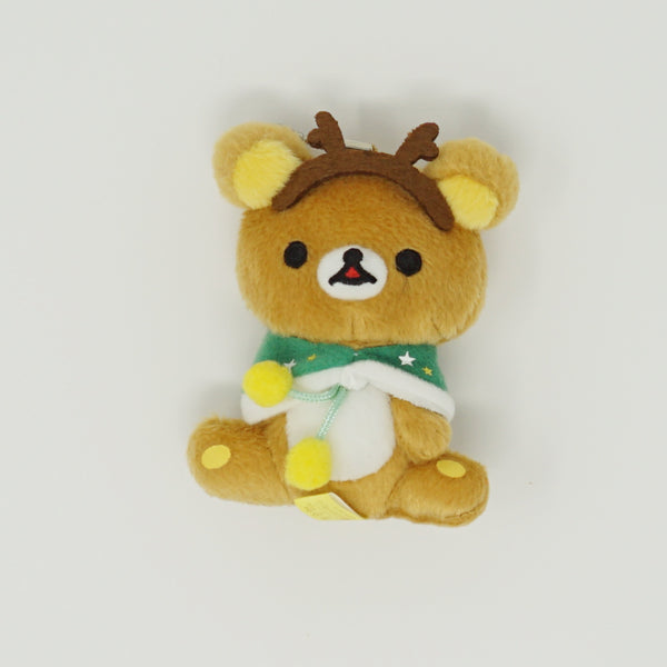 2014 Rilakkuma with Antlers & Green Cape Prize Toy Plush Keychain - Christmas