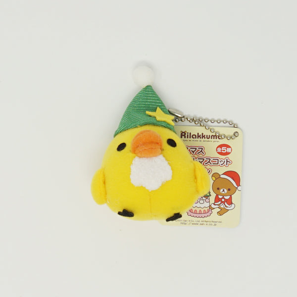 2011 Kiiroitori with Santa Beard and Green Hat Prize Toy Plush Keychain - Colorful Christmas Theme