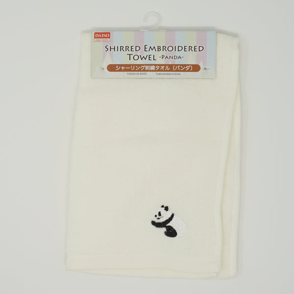 Panda Embroidered Face Towel - White