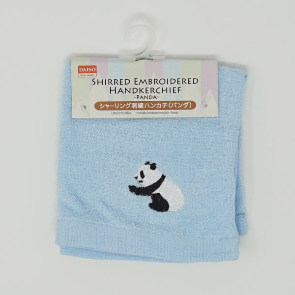 Panda Embroidered Hankerchief - Blue