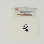Panda Embroidered Hankerchief - White