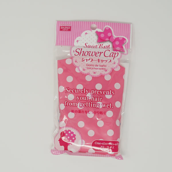 Pink Shower Cap with White Polka Dots