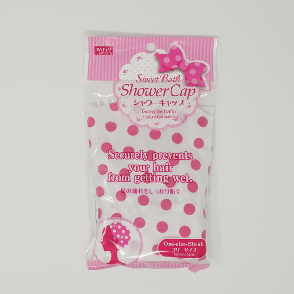 White Shower Cap with Pink Polka Dots