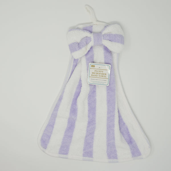 Lavendar Striped Bow Microfiber Hand Towel