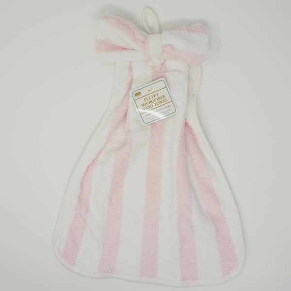 Pink Striped Bow Microfiber Hand Towel