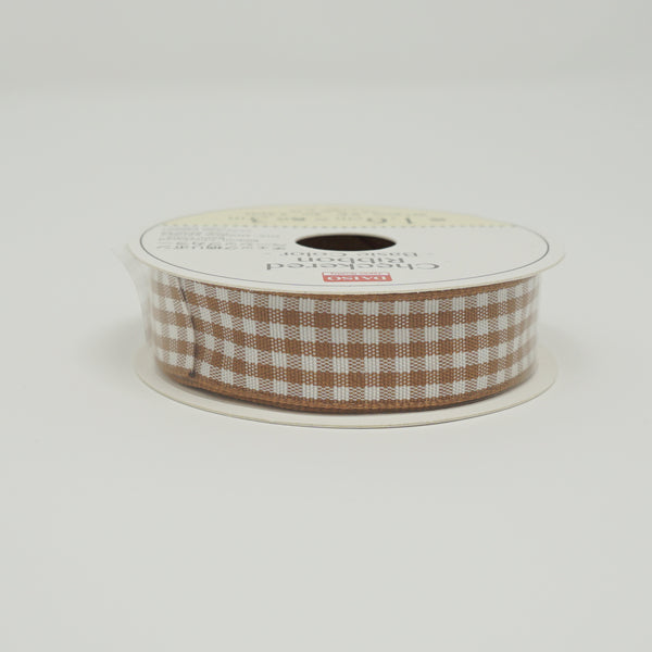 Brown Gingham Ribbon - Standard Size
