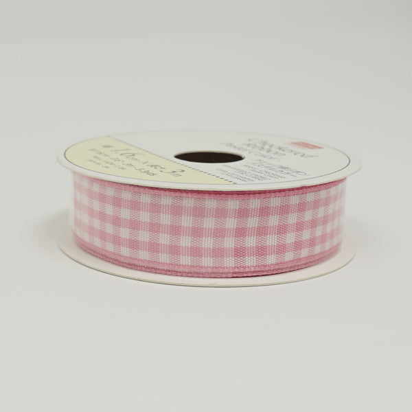 Pink Gingham Ribbon - Standard Size