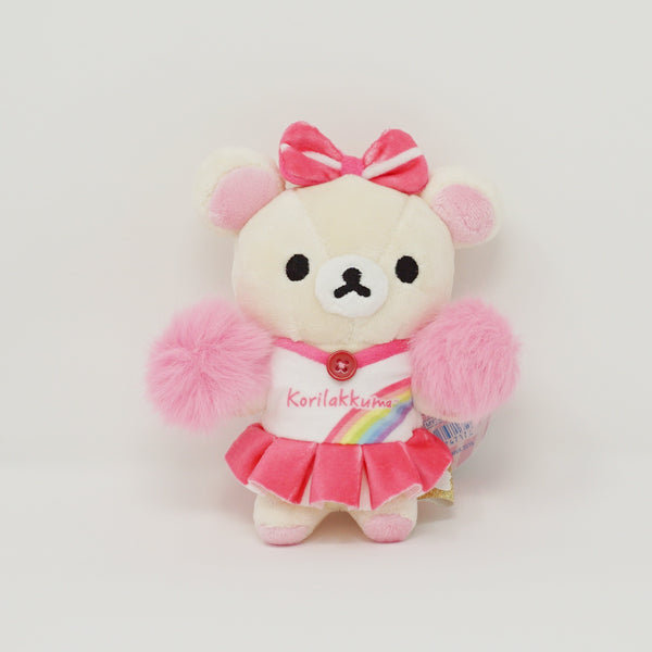 Korilakkuma with Rainbow Outfit and Pink Pom Poms Plush Keychain - Rilakkuma
