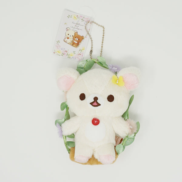 2019 Korilakkuma on Floral Swing Plush Keychain - Korilakkuma meets Chairoikoguma