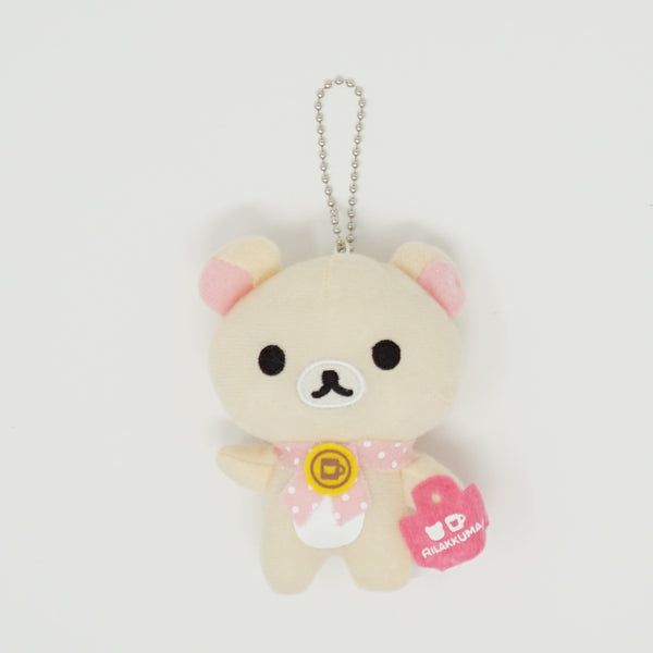 2011 Korilakkuma with Ribbon & Mini Bag Plush Keychain - Cafe Time Rilakkuma