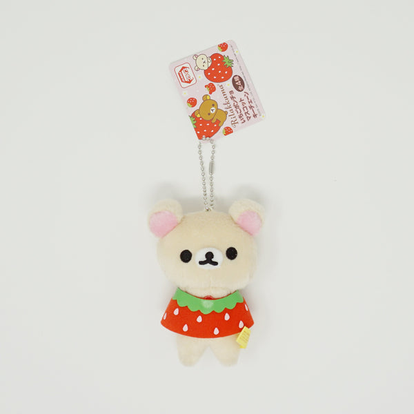2015 Korilakkuma with Strawberry Cape Prize Toy Plush Keychain - Rilakkuma Strawberry