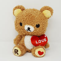 2007 Fuzzy Rilakkuma with Heart Plush - Happy Rilakkuma