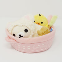Korilakkuma and Kiiroitori in Basket Plush Set - Relaxing Cat Theme - Lawson Loppi Limited