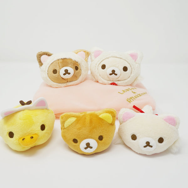 Rilakkuma, Korilakkuma and Kiiroitori Cat Mochi Petan Plush Set - Relaxing Cat Theme Lawson Loppi Limited Rilakkuma