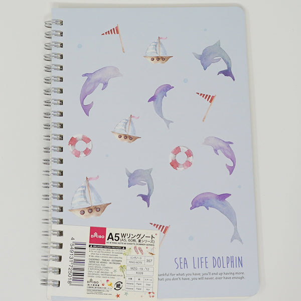 Sea Life A5 Ruled Notebook  - Daiso