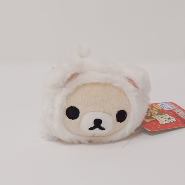 2015 Fuzzy Korilakkuma White Cat Neko Lying Prize Toy Plush Keychain