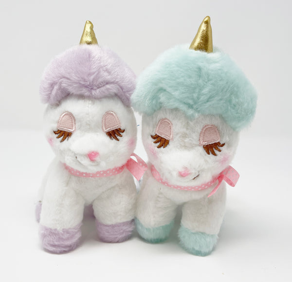 SET DEAL Aqua & Purple Unicorn Plush Keychain - Amuse