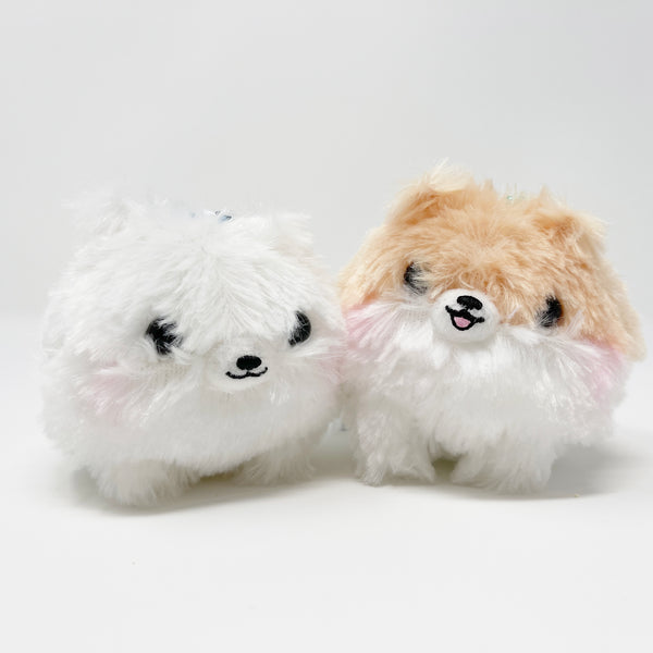 SET DEAL Tan & White Pomeranian Plush Keychains - Amuse