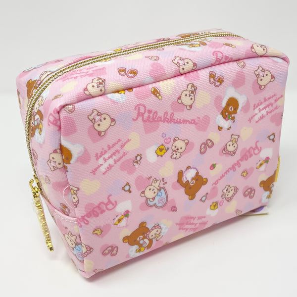 Rilakkuma Heart Bath Time Pastel Zipper Pouch