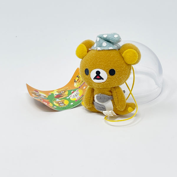 Hungry Rilakkuma with Sleeping Cap Plush Keychain - Rilakkuma Christmas Gashapon Prize