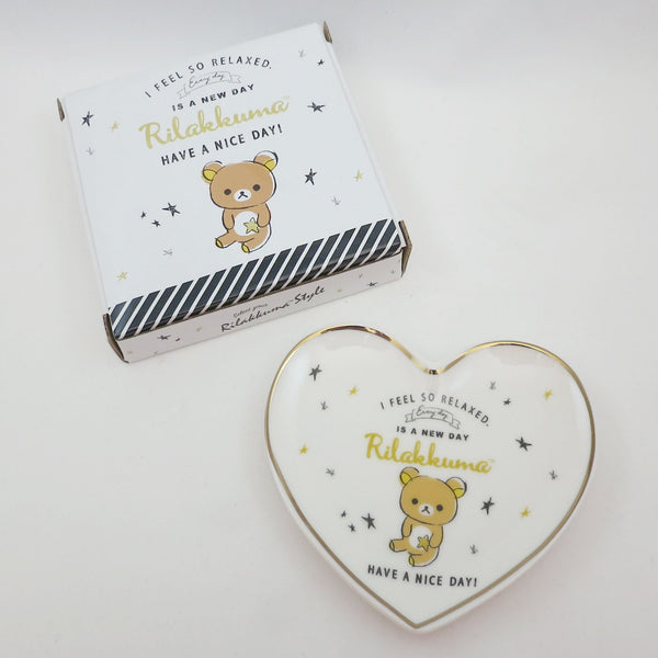 Black and White Heart Jewelry Dish - Rilakkuma Style Theme