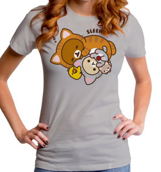 Rilakkuma Neko Cat Theme Grey T-Shirt