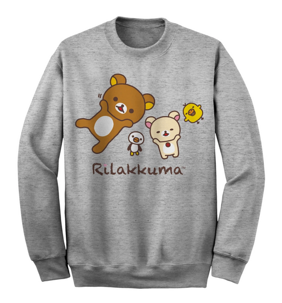 Nap Time Rilakkuma and Friends Grey Sweatshirt - San-X
