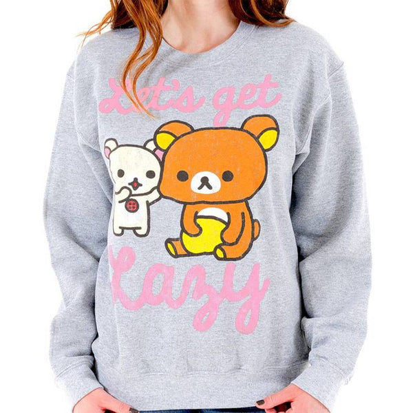 "Rilakkuma Grey Sweatshirt - ""Let's Get Lazy"""