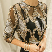 Load image into Gallery viewer, Beaded Sequins Embroidery Sheer Blouse Top