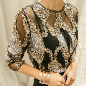 Beaded Sequins Embroidery Sheer Blouse Top
