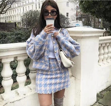 Load image into Gallery viewer, Two Piece Matching Plaid Set Pearl Button Jacket With Mini Skirt