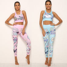 Load image into Gallery viewer, 2 Piece Workout Set Cartoon Print