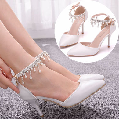 Pearl Embellished Low Heels