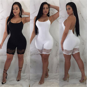 Spaghetti Strap Lace Embroidery Bodycon Jumpsuit